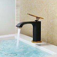 Y&M Waschbecken Wasserhahn,Art Deco/Retro Centerset Wasserfall mit Keramik Ventil Einhebel ein Loch für die Malerei, Waschbecken Wasserhahn