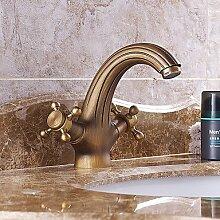 Y&M Waschbecken Wasserhahn,Badezimmer Waschbecken Wasserhahn antik inspirierten Design - Messing Antik Finish Wasserhahn