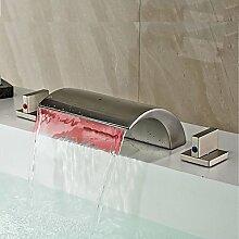 Y&M Waschbecken Wasserhahn,Moderne weit verbreiteten LED / Wasserfall mit Keramik Ventil zwei Griffe drei Löcher für Nickel gebürstet, Waschbecken Wasserhahn