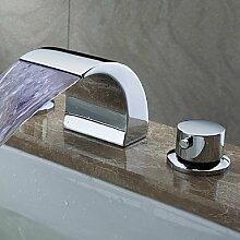 Y&M Waschbecken Wasserhahn,Moderne weit verbreiteten LED / Wasserfall mit Keramik Ventil zwei Griffe drei Löcher für Chrome, Bad Wasserhahn Waschbecken