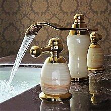 Y&M Waschbecken Wasserhahn,Zeitgenössische verbreitet Wasserfall mit Keramik Ventil zwei Griffen drei Löcher für Ti-PVD, Waschbecken Wasserhahn