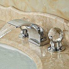 Y&M Waschbecken Wasserhahn,Zeitgenössische verbreitet Wasserfall mit Keramik Ventil zwei Griffen drei Löcher für Chrom Waschbecken Wasserhahn