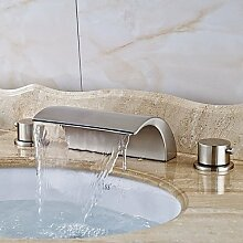 Y&M Waschbecken Wasserhahn,Zeitgenössische verbreitet Wasserfall mit Keramik Ventil zwei drei Löcher für Nickel gebürstet Griffe, Bad Waschbecken Wasserhahn