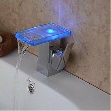 Y&M Wasserhahn,Moderne Chrom Farbwechsel LED
