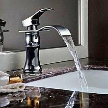 Y&M Wasserhahn,Moderne Einhebel Wasserfall Waschbecken Wasserhahn (verchromt)