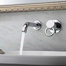 Y&M Wasserhahn,Moderne Wand Einlochmontage Chrom Waschbecken Wasserhahn zwei