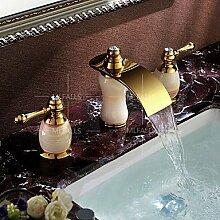 Y&M Wasserhahn,Wasserfall zwei Griff Ti-PVD Luxus