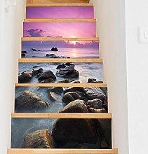 Y-XM Treppe Aufkleber DIY Küste Landschaft Haus