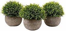 YA-Uzeun Set of 3 Artificial Green Grass Bonsai