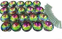Yahead 20 Stück Diamond Kristall Glas Türknopf Türgriffe Knöpfe Schubladen Türschrank Schrank Pulls Knöpfe Moebelknoepfe Moebelgriff Schrankgriffe Knopf 30mm