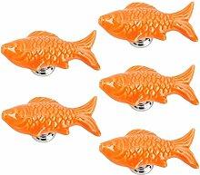 Yahead 5 Stück Keramik Türknopf Türgriffe Fisch-Form Knöpfe Schubladen Türschrank Schrank Pulls Knöpfe Moebelknoepfe Moebelgriff Schrankgriffe Knopf