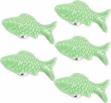 Yahead 5 Stück Keramik Türknopf Türgriffe Fisch-Form Knöpfe Schubladen Türschrank Schrank Pulls Knöpfe Moebelknoepfe Moebelgriff Schrankgriffe Knopf …