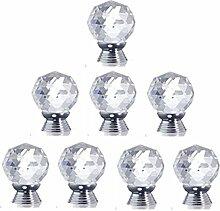 Yahead 8 Stück Diamond Kristall Glas Türknopf Türgriffe Knöpfe Schubladen Türschrank Schrank Pulls Knöpfe Moebelknoepfe Moebelgriff Schrankgriffe Knopf 30mm