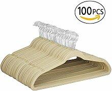 Yahee 100 x Kleiderbügel Anti-Rutsch Samt Anzugbügel Beige