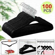 Yahee 100 x Kleiderbügel Anti-Rutsch Samt Anzugbügel Schwarz