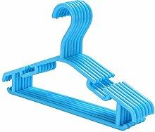 Yahee 50 Stück Kleiderbügel Kunststoff Wäschebügel platzsparend 26,5cm für Kinder (Blau)