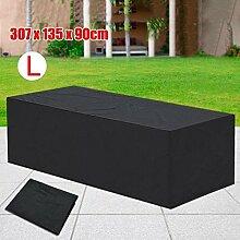 Yahee Abdeckung Gartenmöbel Schutzhülle für Gartentisch und Stühle Wasserdicht Möbel Abdeckhaube (Schwarz L-307 cm x 136 cm x 88 cm)
