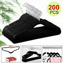 Yahee Anti-Rutsch Samt Kleiderbügel Anzugbügel mit beflockter Oberfläche (200 x Kleiderbügel, schwarz)