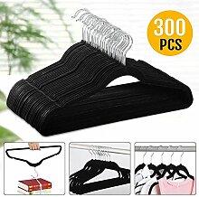 Yahee Anti-Rutsch Samt Kleiderbügel Anzugbügel mit beflockter Oberfläche (300 x Kleiderbügel, schwarz)