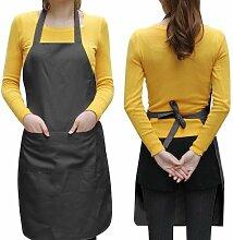 Yahee Kochschürze Grillschürze Küchenschürze Latzschürze für Küche, Grill ,Gastronomie (Schwarz)