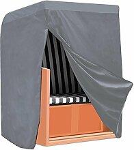 Yahee Strandkorb Schutzhülle Abdeckhaube mit Verschluss Polyester Oxford Gewebe, Grau Farbe 130 x 170 x 100cm
