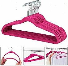 Yaheetech 100 Stück Anti-Rutsch Samt Kleiderbügel Anzugbügel (Pink)