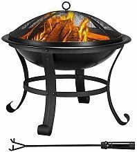 Yaheetech Garten Feuerstelle mit Funkenschutz &