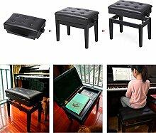 Yaheetech Klavierbank Schwarz Höhenverstellbar 45-55 cm, Sitzfläche 56 x 33cm Klavierhocker Schminkhocker mit Stauraum
