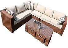 yakoe 500188-Sitzer Papaver Wintergarten Modular Rattan Ecke Garten Sofa Möbel Set–Braun