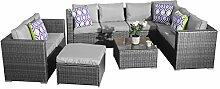 yakoe 51101–19-Sitzer Rattan Terrasse Wintergarten Ecksofa-Sets, grau, 118x 66x 66cm