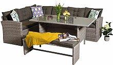 yakoe Eton Serie 9-Sitzer Outdoor Rattan Garten Möbel Ecke Esstisch Set, grau, 220x 172x 82cm