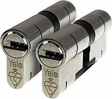 Yale Nickel Schließzylinder mit 6 Schlüsseln,