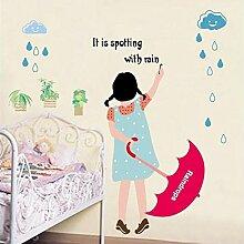 YALL Wand Aufkleber Können Das Glas Mädchen Regenschirm Kindergarten Klassenzimmer Entfernen
