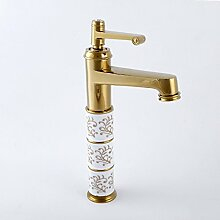 YALL Waschbecken Wasserhahn Continental Marmor Keramik gold Antik Roségold