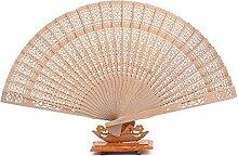 Yalulu 10 Stück Naturfarben Holzfächer Fans Hand Fan Hochzeit Party Gefallen Bambus Fan Kinder Faltbar Faecher