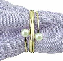 Yalulu 10 Stück Perle Silber Gold Serviettenringe