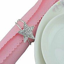 Yalulu 10 Stück Strass Pentagramm Serviettenringe Serviette Halter Wedding Banquet Serviettenring Dinner Hochzeits Weihnachten Dekoration