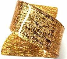 Yalulu 12 Stück Acryl Irregulär Serviettenringe Servietten Halter Banquet Serviette Ring Dinner Hochzeits Hotel Weihnachten Dekoration Tischdeko (Gold)