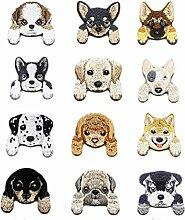 Yalulu 12 Stück Gemischt Welpe Hund Patches Aufnäher Aufbügler Applikation zum aufbügeln Set Tattoo Patches Bügelbild Sticker Aufnäher Aufbügler Patch