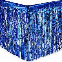 Yalulu 2 Stück Dressing Tischrock Tisch Gold Silber Lametta Vorhänge Tisch Roecke Fadenvorhang Glittervorhang Party Hochzeit Dekoration Deko (Blau)