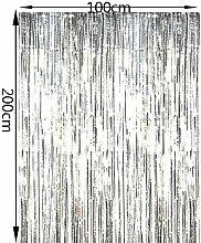 Yalulu 2 Stück Vorhang Gold Silber Lametta Vorhänge Glitzervorhang Fadenvorhang Glittervorhang Party Hochzeit Dekoration Deko (Silber)