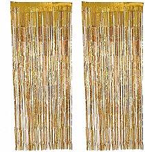 Yalulu 2 Stück Vorhang Gold Silber Lametta Vorhänge Glitzervorhang Fadenvorhang Glittervorhang Party Hochzeit Dekoration Deko (Gold)