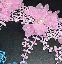 Yalulu 2 Yards 3D Blume Spitze Spitzenband Geschenkband Dekoband Trimmen Nähen Handwerk Hochzeit DIY Dekoration (Rosa)