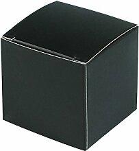Yalulu 20 Stück 10cm*10cm*10cm Kraftpapier Gastgeschenke Geschenk Kasten Süßigkeit Kasten Gast Kasten Kuchen Box für Hochzeits Taufe Geburtstags Party Dekor (Schwarz)