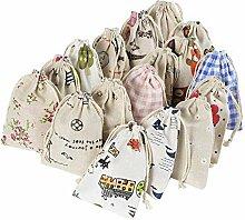 Yalulu 20 Stück Gemischt Natur Jutesäckchen Leinen-Säckchen Geschenk Tasche für Adventskalender, Jutebeutel, Stoffbeutel, Natur Säckchen, Geschenksäckchen, Sack, Beutel, Farbe Hellbraun,10cm*14cm