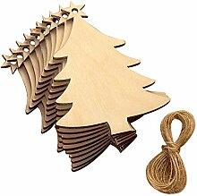 Yalulu 20 Stück Handwerk Holz Hängen Ornamente Scheiben DIY Basteln Holzsterne Deko Kunsthandwerk Weihnachten Hochzeit Geburtztag Feiertag Dekoration (Baum)