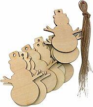 Yalulu 20 Stück Handwerk Holz Hängen Ornamente Scheiben DIY Basteln Holzsterne Deko Kunsthandwerk Weihnachten Hochzeit Geburtztag Feiertag Dekoration (Schneemann)