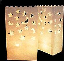 Yalulu 20 Stück Lichttüte Deko Licht Tüte Teelicht Kerze Taschen Candle Bags für Hochzeit Party Dekoration (#4)