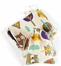 Yalulu 20 Stück Natur Jutesäckchen Leinen-Säckchen Geschenk Tasche für Lavendelblüten , Jutebeutel, Stoffbeutel, Natur Säckchen, Geschenksäckchen, Sack, Beutel, Farbe Hellbraun,10cm*14cm (Eule)