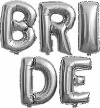 Yalulu 40 Zoll Groß BRIDE Mylar Folienballon Aluminum Foil Balloon Helium Luftballon für Hochzeit Junggesellinnenabschied Party Dekoration (Silber)